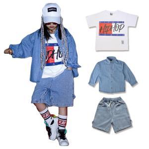 Tシャツ ショートパンツ 長袖 子供 男の子 女の子 ジーンズ ルーズ 個性 ストリートダンス ファッション ヒップホップ 運動 学園祭 スポーツ 演出|e-dance