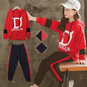 韓国ファッション 子供服 上下セット セット トレーナー 韓風 スポーツ カジュアル 春秋 可愛い キッズ ファッション|e-dance