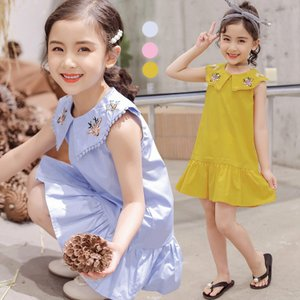 子供服 女の子 ワンピース チュールスカート プリンセスドレス チュチュスカート ノースリーブ 韓風 刺繍 コットン 無地 可愛い プリンセス キッズ ファッション|e-dance