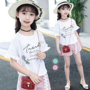 子供 キッズ服 上下セット セット Tシャツ ショートパンツ 韓風 ドルマンスリーブ カジュアル 可愛い 無地 プリンセス 女の子 ファッション|e-dance