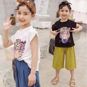 キッズ服 女の子 上下セット セット ワイドパンツ ノースリーブ Tシャツ カジュアル 可愛い 動物 プリンセス 女の子 ファッション|e-dance