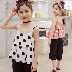 韓国ファッション 子供服 上下セット セット ワイドパンツ 水玉柄 肩出し カジュアル 可愛い プリンセス 女の子 ファッション|e-dance