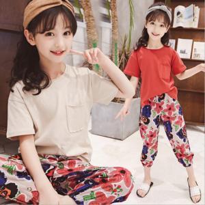 キッズ 子供服 上下セット セット ワイドパンツ Tシャツ 半袖 無地 花柄 カジュアル 可愛い プリンセス 女の子 ファッション|e-dance