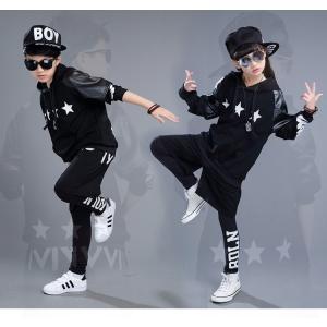 キッズ服 子供服 ダンス 衣装 セットアップ ヒップホップステージ衣装 ジャズダンス ウエア 衣装 スポーツウェア ダンス衣装子供 運動服HIPHOP 上下セット|e-dance
