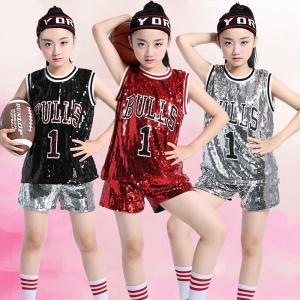 ダンス衣装 スパンコール タンクトップ 子供服 キッズ服 ファッション ジュニア ジャズダンス ノースリーブ ベスト ボーイズ ガールズ ヒップホップ|e-dance