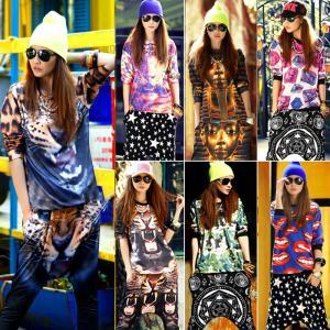ヒップホップ★Tシャツ 長袖 トップス ★HIPHOP★ファッション★原宿風 落書き ダンスウェア ファッション|e-dance