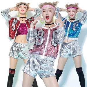 ダンス衣装 セットアップ スパンコール キラキラ ステージ衣装 スパンコール衣装 イベント 発表会  演出服|e-dance