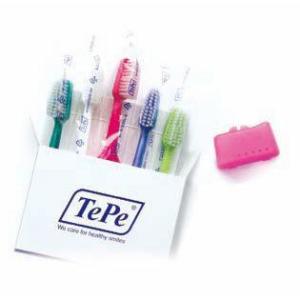テペ セレクト ソフトお試し用 1箱 歯ブラシ やわらかめ 5本/箱 色(アソート)(ブラシヘッドキャップ1個付き)|e-dent