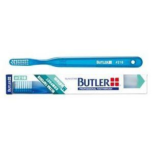 サンスター/バトラー 歯科用 バトラー歯ブラシ #216 12本 歯ブラシ やわらかめ コンパクトヘッド ハンドルカラー6色(アソート)|e-dent