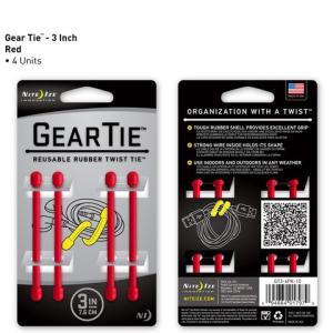 アウトレット ビニタイ GEAR TIE 3インチ 7.6cm 4本 レッド ギアタイ GT3-4PK-10 NITE IZE メール便可|e-device