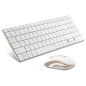 新品 お取寄品 UNIQ(ユニーク) Rapoo 薄型 軽量 省エネ スタイリッシュ ワイヤレス マウス キーボード セット ゴールド 9160|e-device