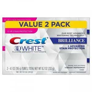 クレスト Crest 3D ホワイトブリリアンス+アドバンスドステインプロテクション 歯磨き粉 ビブラントペパーミント 116g x 2個|e-duo-mart