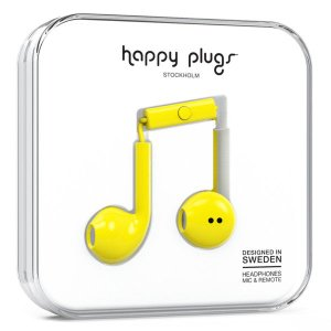 Happy Plugs EARBUD PLUS YELLOW 【7816】 おしゃれ かわいい インナーイヤー型 オープン型 耳が痛くない イヤホン (送料無料) e-earphone