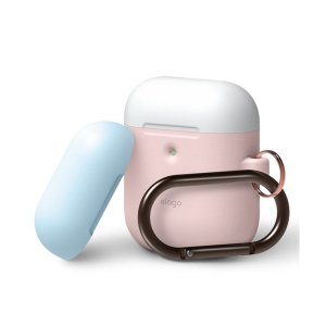 elago AIRPODS DUO HANG CASE for AirPods 2nd ピンク (カラビナ付き)【EL_A2WCSSCOW_PK】 Apple 第2世代 Airpods用ケース カバー イヤホンケース|e-earphone