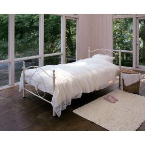 ロビン ベッド シングル アイアン ホワイトエレガンス マットレス付き|e-flat