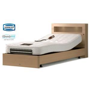 シモンズ ボックススタイル 2モーター電動リクライニングベッド セミダブル 棚付き e-flat