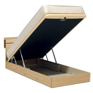 ドリームベッド イーポイント258 シングル 宮付き・棚付き・照明 リフトアップタイプ・大型収納 ガスハッチ式 日本製 フレームのみ e-flat