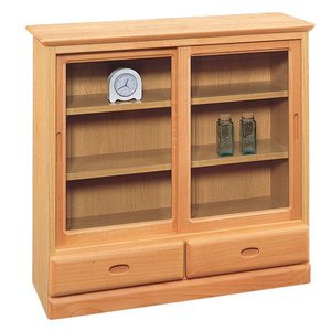 飾棚ムーディ75 ガラス引き戸キャビネット収納 クローゼット ナチュラル|e-flat