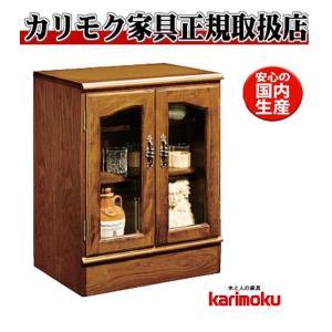 カリモクQC1915NK コロニアルウォールナット サイドボード・キャビネット クラシック ガラス開き扉 日本製家具 e-flat