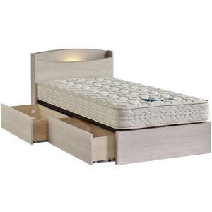 ドリームベッド フェミスティ2600 シングル 棚付き・照明コンセント ドロアータイプ・引き出し付き ホワイト 日本製 フレームのみ|e-flat
