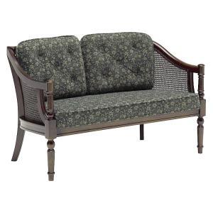 カリモクWC55モデル WC5502 二人掛肘掛け椅子 2Pラブソファ 布張り花柄 籐ラタン カントリー調 コロニアル 日本製家具|e-flat