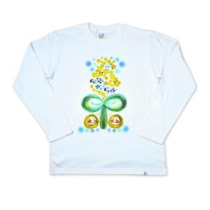 画家 わだのめぐみ smile happy柄 レディース長袖Tシャツ|e-gao-appa