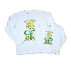 画家 わだのめぐみ smile happy柄 レディース長袖Tシャツ|e-gao-appa|05