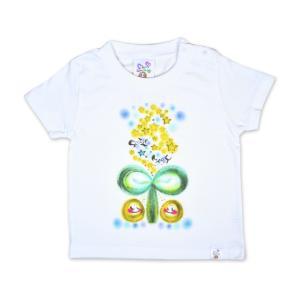 画家 わだのめぐみ smile happy柄 子供半袖Tシャツ|e-gao-appa