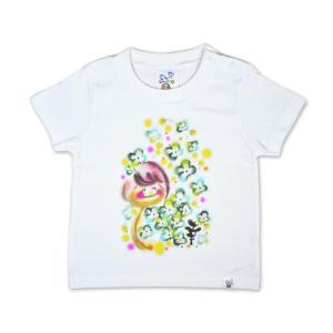 画家 わだのめぐみ clover柄 子供半袖Tシャツ|e-gao-appa