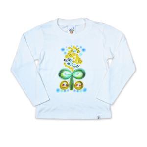 画家 わだのめぐみ smile happy柄 子供長袖Tシャツ|e-gao-appa