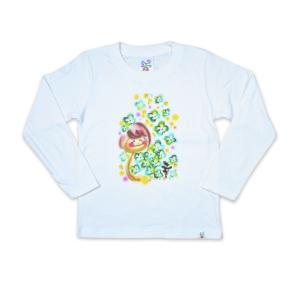 画家 わだのめぐみ clover柄 子供長袖Tシャツ|e-gao-appa