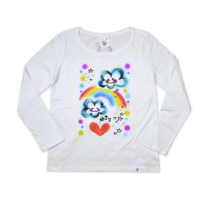 画家 わだのめぐみデザイン柄 レディース長袖Tシャツ|e-gao-appa