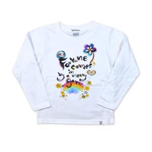 画家 わだのめぐみ fortune柄 子供長袖Tシャツ|e-gao-appa