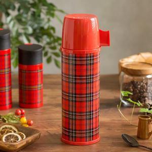 赤のチェックがレトロで可愛い。二重構造のステンレス魔法瓶。赤いタータンチェックの魔法瓶が世界的に人気...