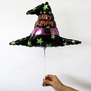 [メール便可] 装飾用ハロウィンスティック風船 ウィッチハット/ フォトプロップス e-halloween
