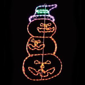 [大処分特価]ハロウィン装飾 LEDチューブライト3連パンプキン H90cm|e-halloween