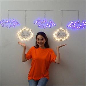 10000⇒5000円 ハロウィン装飾 LED5連ライト「パンプキン&こうもり」 自動タイマー式 W180cm|e-halloween