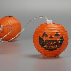 ハロウィン装飾 8cmペーパーパンプキンライト 10球連 160cm / 飾り ディスプレイ ハロウィーン|e-halloween