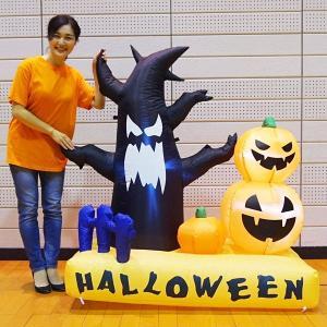 ハロウィンエア装飾 フォトスポットエアブロー ゴーストツリー&パンフキン H130cm/動画有|e-halloween