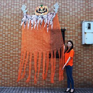 【在庫限り!特価品 ¥2500⇒¥2250】ハロウィンビッグ装飾 ビッグサイズパンプキンカーテン H300cm / 飾り ディスプレイ ハロウィーン|e-halloween
