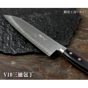 錆びにくい ステンレス 包丁 越前打刃物 V10三徳包丁|e-hamono