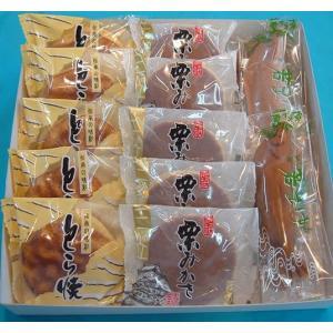 幸成堂の人気商品「栗みかさ」「とら焼き」「若鮎」のうれしいセットです。 【消費期限】 栗みかさ・とら...