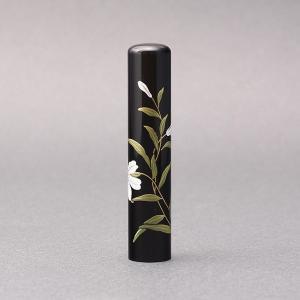 印鑑/蒔絵(花)-黒水牛(高級芯持)-【ゆり】/熟練職人の手彫り仕上げ-12mm