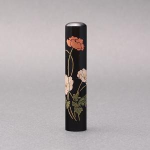 印鑑/蒔絵(花)-黒水牛(高級芯持)-【ポピー】/熟練職人の手彫り仕上げ-12mm