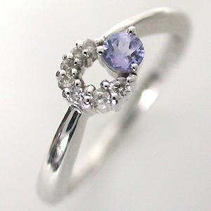 指輪 ホワイトゴールド タンザナイト ダイヤリング 12月誕生石|e-housekiya