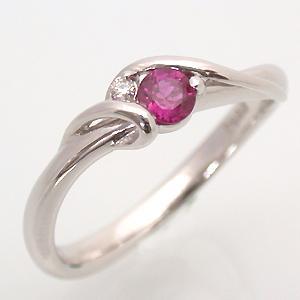 K18WG(18金 ホワイトゴールド) ルビー(7月の誕生石) ダイヤモンド リング|e-housekiya