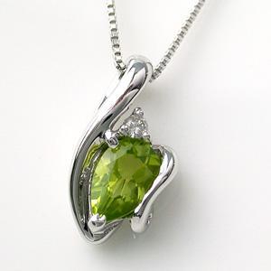 ホワイトゴールド ペリドット (8月の誕生石) ダイヤモンド ネックレス  ビジュー|e-housekiya