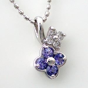 ホワイトゴールド タンザナイト (12月の誕生石) ダイヤモンド ネックレス ネックレス ビジュー|e-housekiya