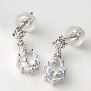 K14WG(14金 ホワイトゴールド) ムーンストーン(6月の誕生石) ダイヤモンド ピアス 揺れる|e-housekiya