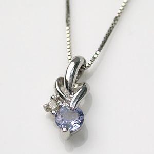 ホワイトゴールド タンザナイト ダイヤモンド ペンダント 12月誕生石 ネックレス ビジュー|e-housekiya